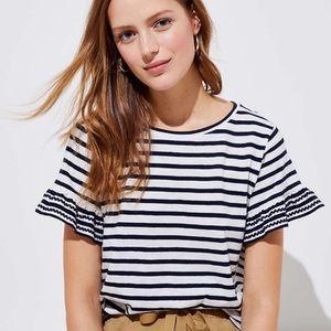 LOFT Navy Striped Ruffle Flutter Sleeve T-Shirt